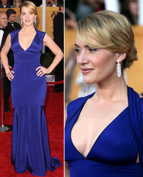 kate winslet blue narciso rodriguez dress 2009 sag awards winner 2 Mavi Abiye Modelleri
