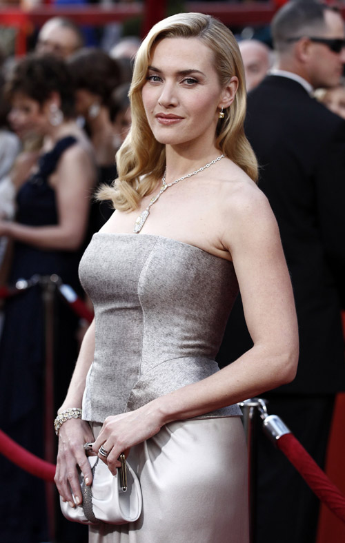 Kate Winslet Yves Saint Laurent Silver dress 2010 Oscars 2