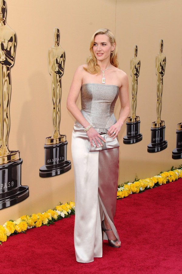 Kate Winslet Yves Saint Laurent Silver dress 2010 Oscars 3