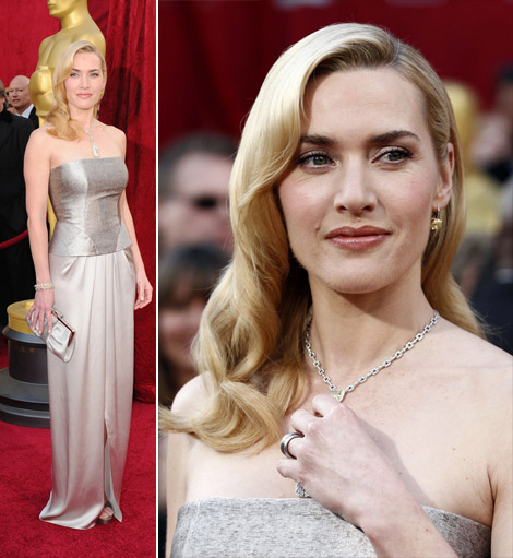 Kate Winslet In Yves Saint Laurent Silver Dress For The 2010 Oscars