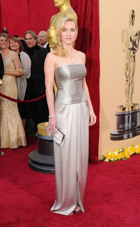 Kate Winslet Yves Saint Laurent Silver dress 2010 Oscars