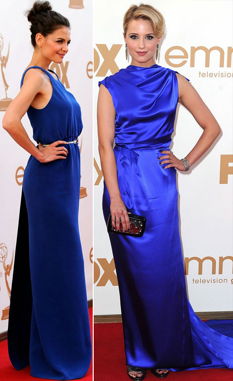 Katie Holmes blue Calvin Klein dress Dianna Agron blue Roksanda Ilincic dress