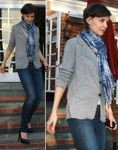 Questionable Style: Katie Holmes Blue Tartan Scarf