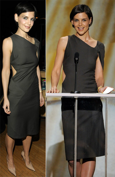 Katie Holmes In Brown Jil Sander Dress At The 2009 SAG Awards