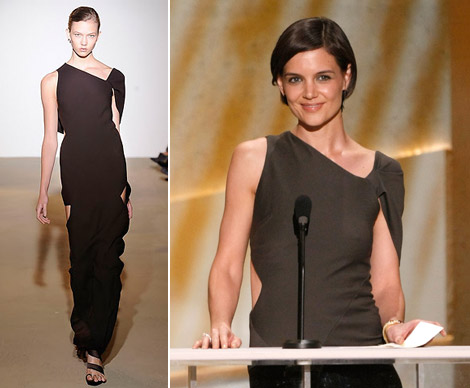 Katie Holmes brown Jil Sander dress SS 09 SAG Awards 2009