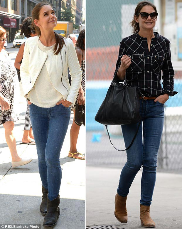 Katie Holmes casual skinny jeans boots