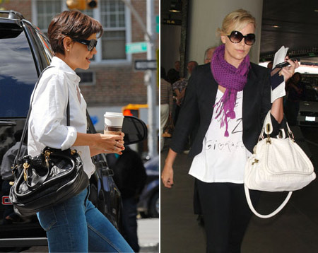 Katie Holmes and Charlize Theron wearing Chloe Python Paraty Bag black and white