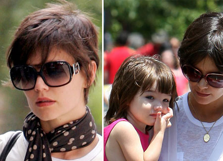 katie holmes short hair pictures. Katie Holmes new short hairdo