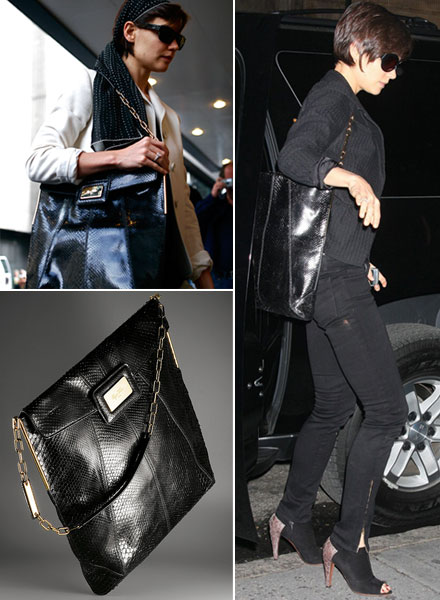 Katie Holmes New Obsession – Roger Vivier Mikado Flat Bag