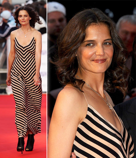Katie Holmes striped dress National Movie Awards