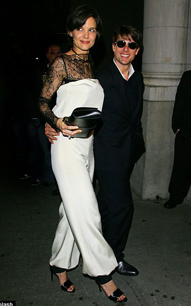 Katie Holmes white jumpsuit All My Sons premiere with Tom Cruise