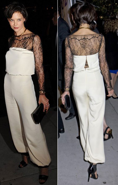 Katie Holmes white jumpsuit All My Sons premiere
