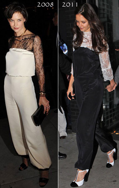 Katie Holmes' Birthday Outfit: Black Jumpsuit Over White Lace Top