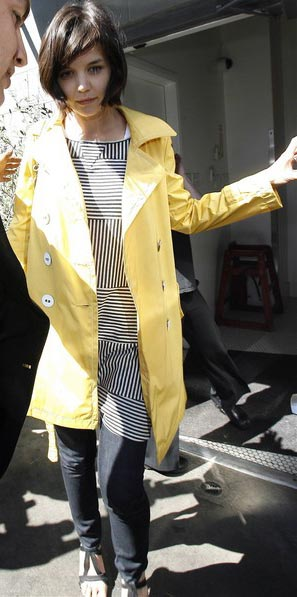 Katie Holmes Yellow Trench Black and White dress at Joan s