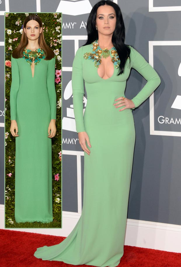 Katy Perry 2013 Grammy cleavage fail Gucci green dress