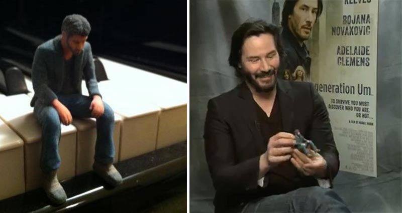 Keanu Reeves with Sad Keanu Action  Figure