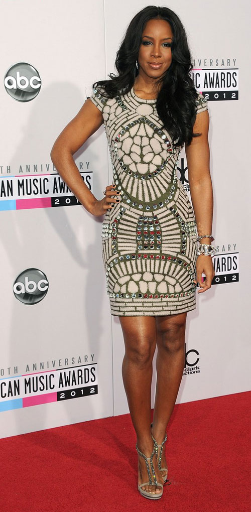 Kelly Rowland body hugging dress AMAs 2012
