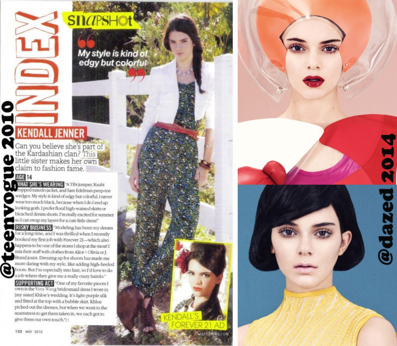 Kendall Jenner then and now fashion magazines Teen Vogue Dazed