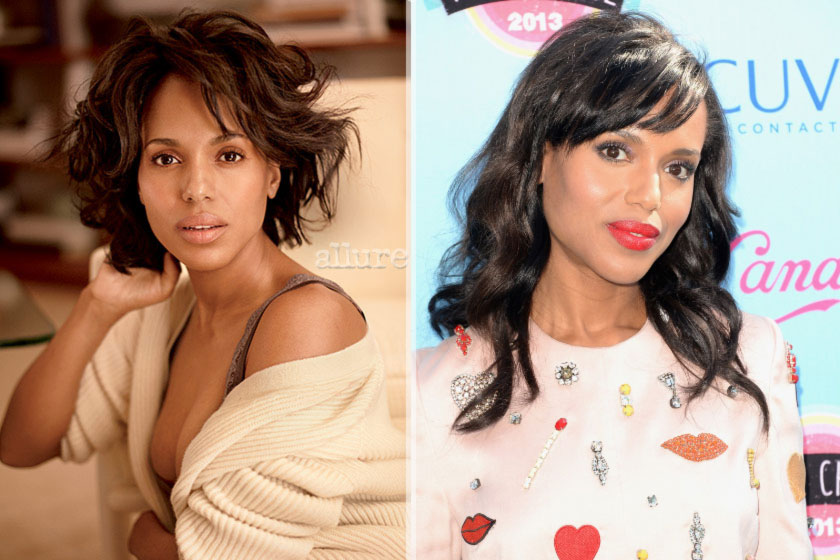 Kerry Washington without makeup with makeup