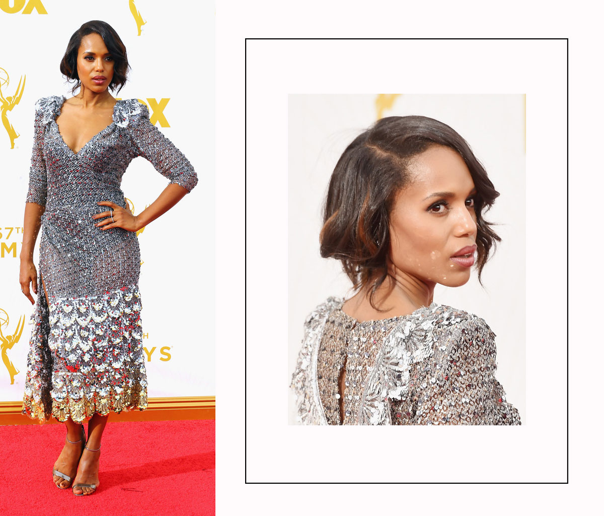 Kerry Washington 2015 Emmy Awards red carpet hairdo