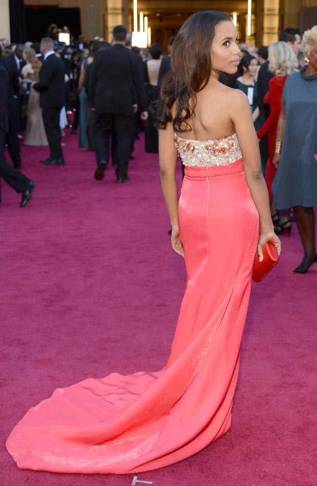 Kerry Washington coral dress 2013 Oscars