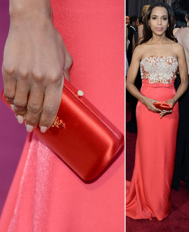 Kerry Washington dress Leighton clutch 2013 Oscars