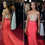 Kerry Washington Miu Miu Coral dress 2013 Oscars