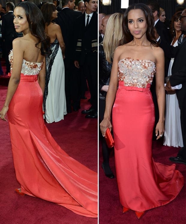 2013 Oscars Fashion: Kerry Washington Miu Miu Coral Dress
