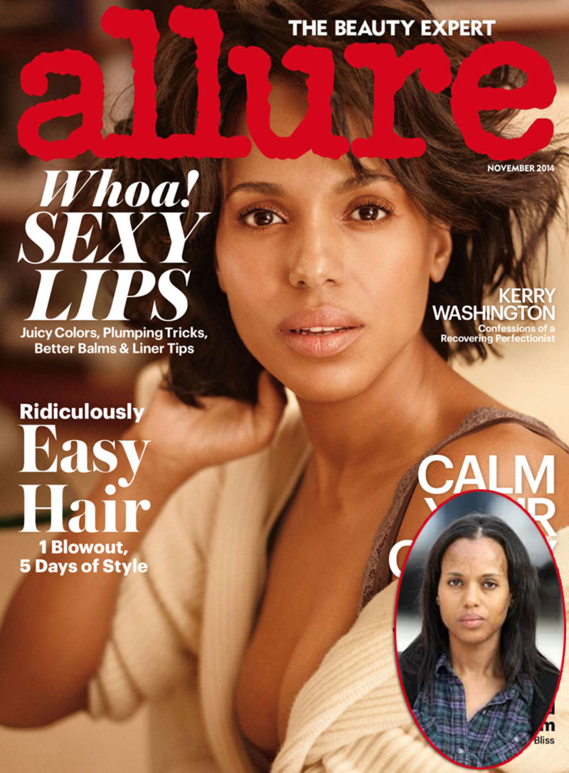 Kerry Washington without makeup vs Allure cover
