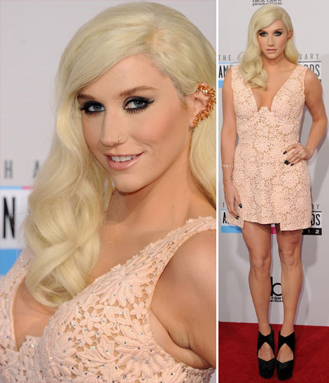 Kesha lace short dress AMAs 2012