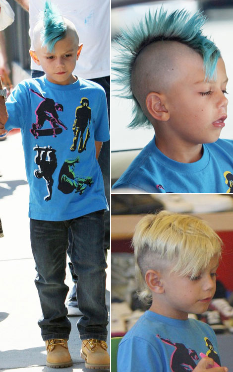 Kids blue Mohawk hairstyle Kingston Rossdale