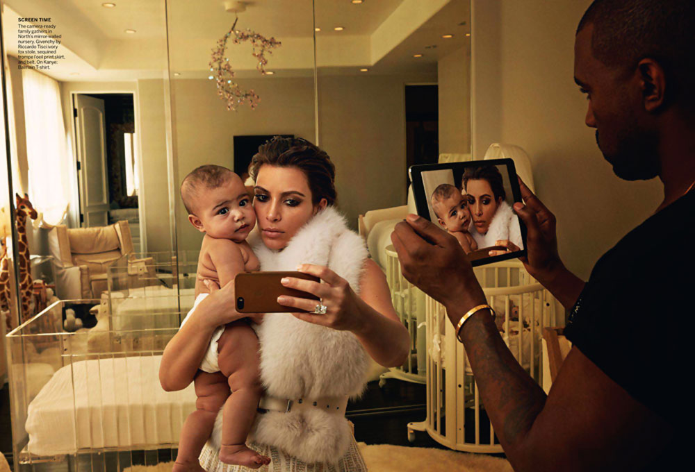 Kim fur vest Vogue selfies Kanye North