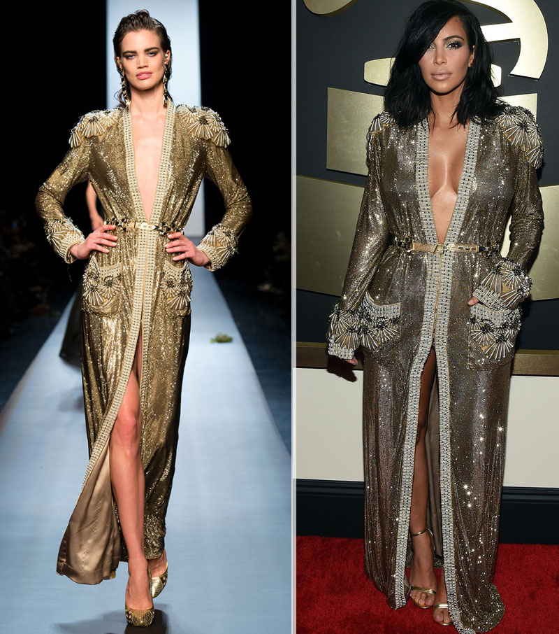 Kim Kardashian 2015 Grammy red carpet JPGaultier couture robe