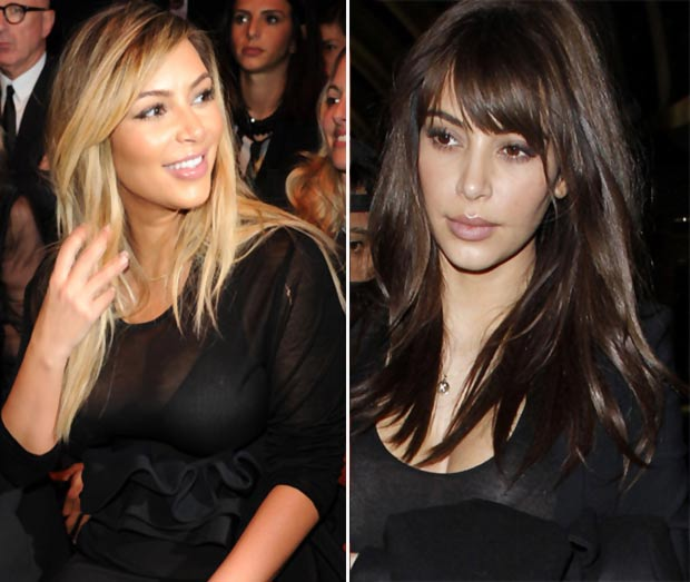 Kim Kardashian blonde hair vs dark hair