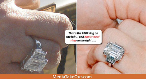 Kim Kardashian engagement diamond ring 2009 2011