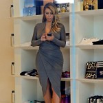 Kim Kardashian new wardrobe Donna Karan grey dress