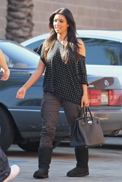 Kim Kardashian Matches Hermes Birkin With UGG Boots