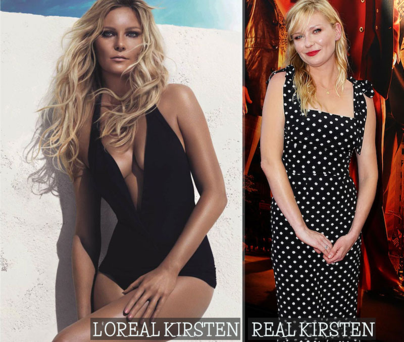 Kirsten Dunst L Oreal hair vs real hair
