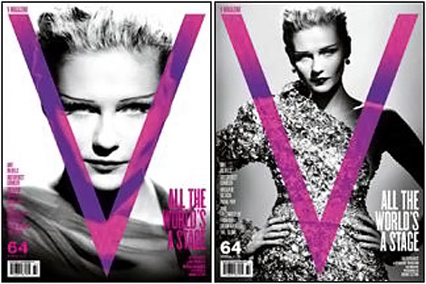 Kirsten Dunst V Magazine Spring 2010 black white covers