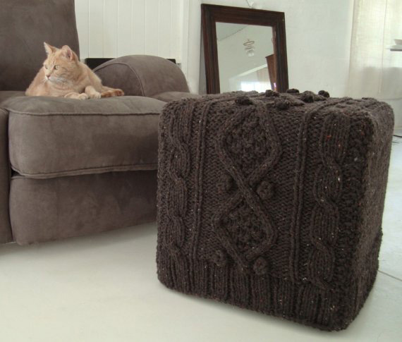 knitted ottoman gray