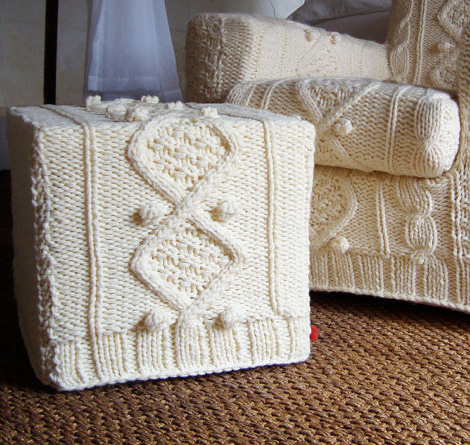 knitted ottoman natural