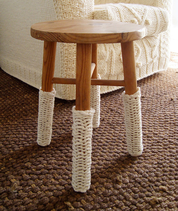 knitted stool white warmers