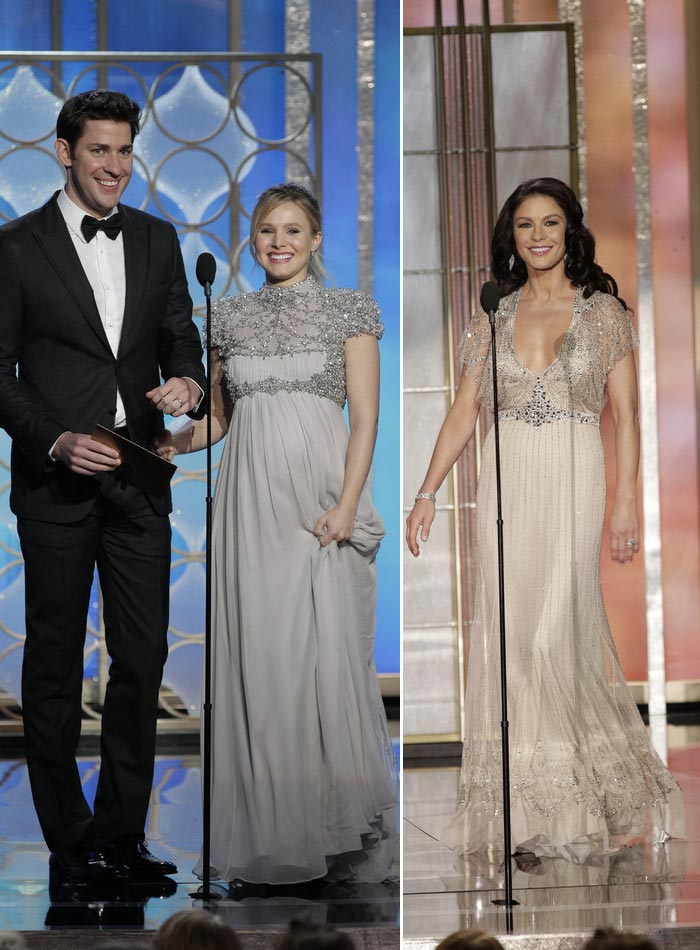 Kristen Bell Catherine Zeta Jones Jenny Packham dresses 2013 Golden Globes