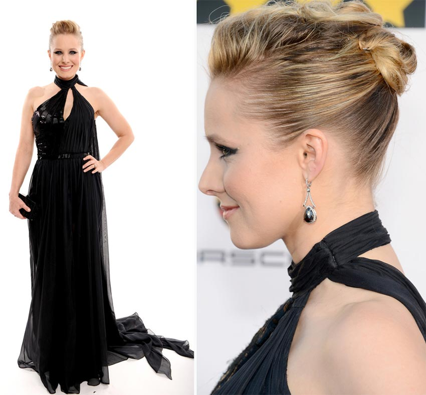 Kristen Bell dress hair 2014 Critics Choice Awards