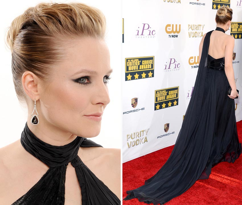 Kristen Bell hair black dress 2014 Critics Choice Awards