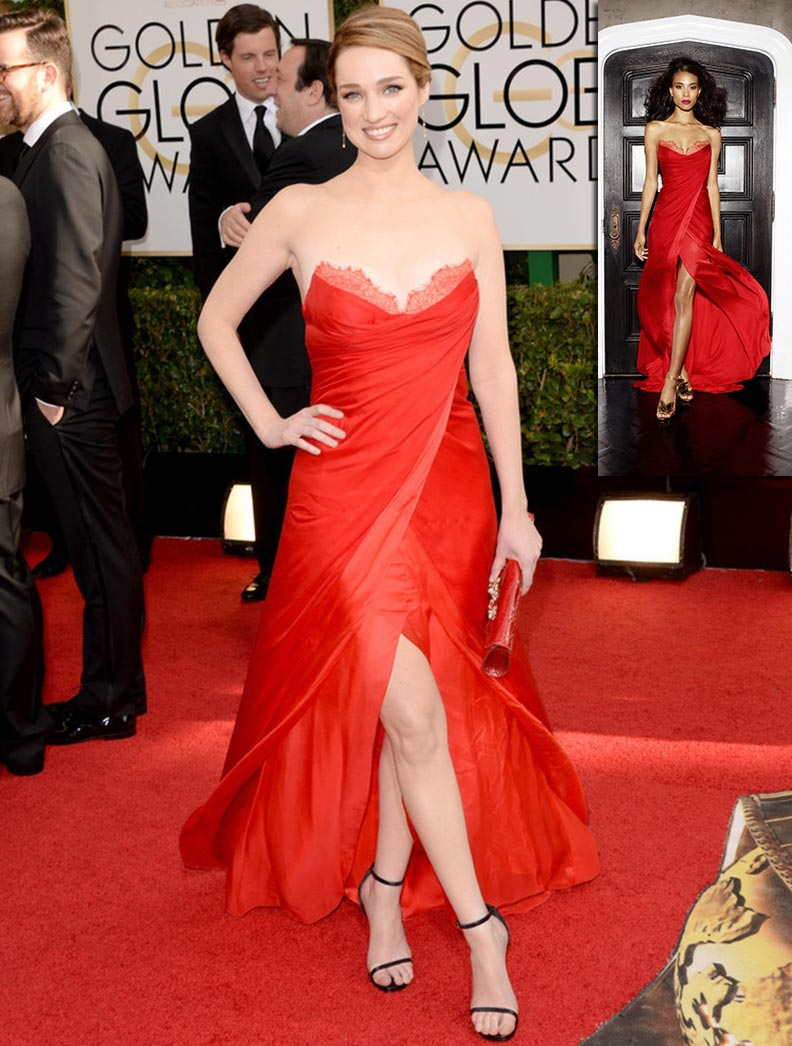 Kristen Connolly red dress Lorena Sarbu Golden Globes 2014