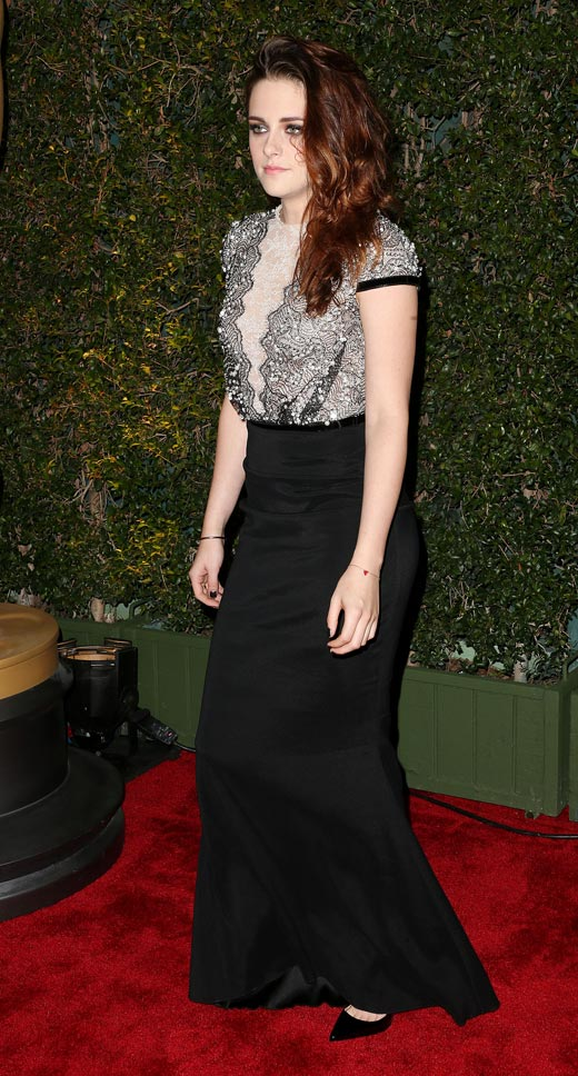 Kristen Stewart black white lace black skirt dress