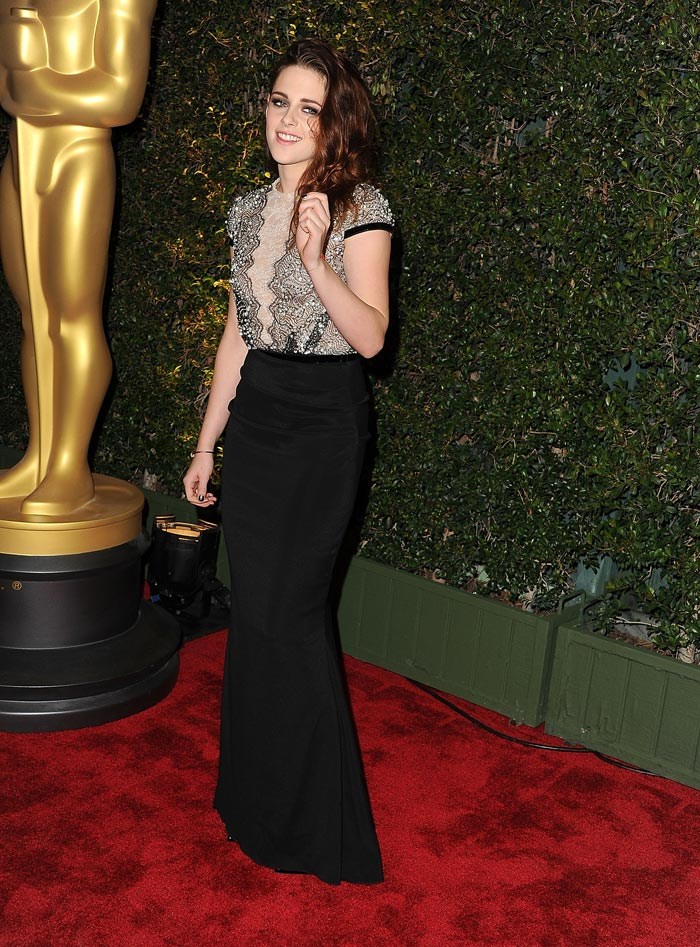 Kristen Stewart S Talbot Runhof Black Lace Dress For
