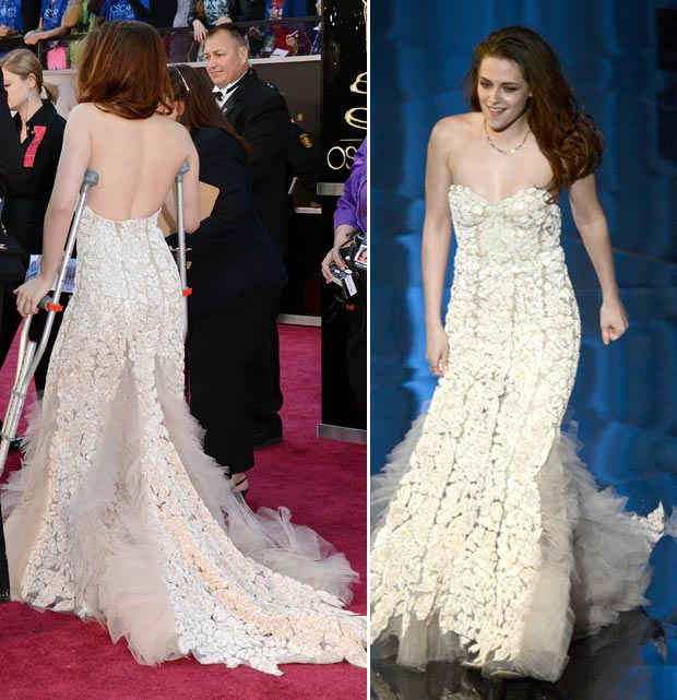 2013 Oscars Fashion: Kristen Stewart Reem Acra White Lace Dress