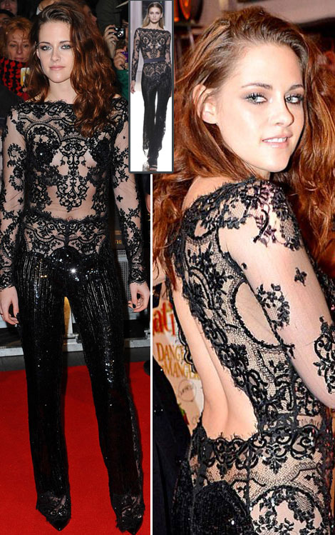 Kristen Stewart's Zuhair Murad Black Lace Bodysuit Breaking Dawn Part Two, London